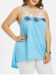 Plus Size Lattice Yoke Dip Hem Tank Top -