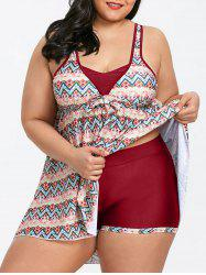 Plus Size Chevron Empire Waist Tankini Set -