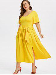 Plus Size Plain Belted Dress -