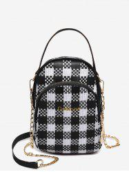 Headphone Hole Top Handle Plaid Chain Crossbody Bag -