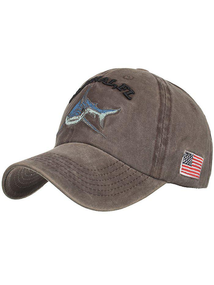 Sale Shark Embroidery Adjustable Sunscreen Hat