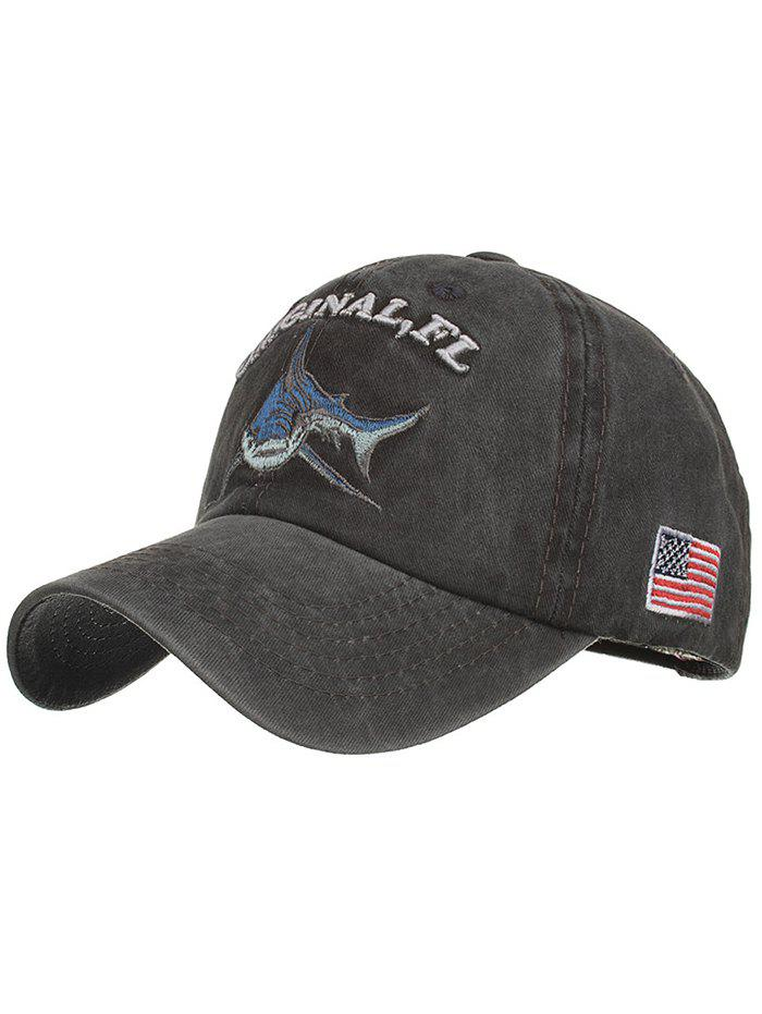 Discount Shark Embroidery Adjustable Sunscreen Hat