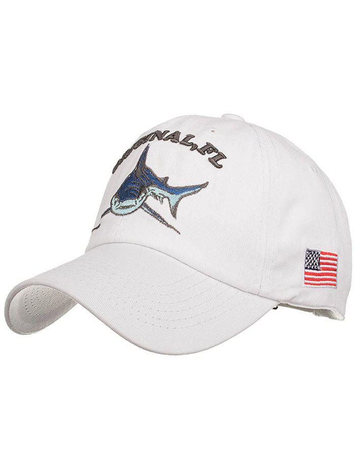 Chapeau de Protection Solaire Réglable Motif Requin Brodé