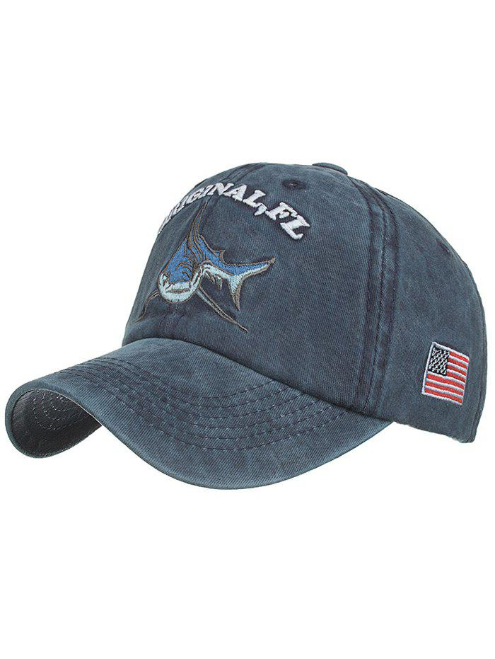 Outfits Shark Embroidery Adjustable Sunscreen Hat