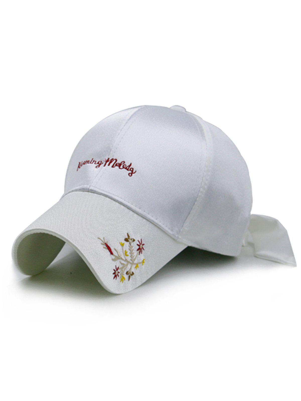 Trendy Floral Embroidery Long Band Baseball Hat