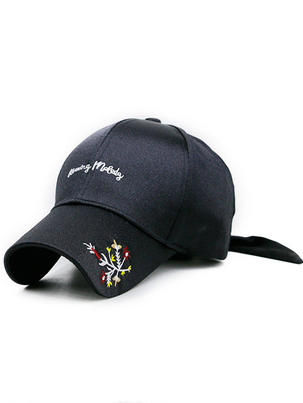 Fancy Floral Embroidery Long Band Baseball Hat