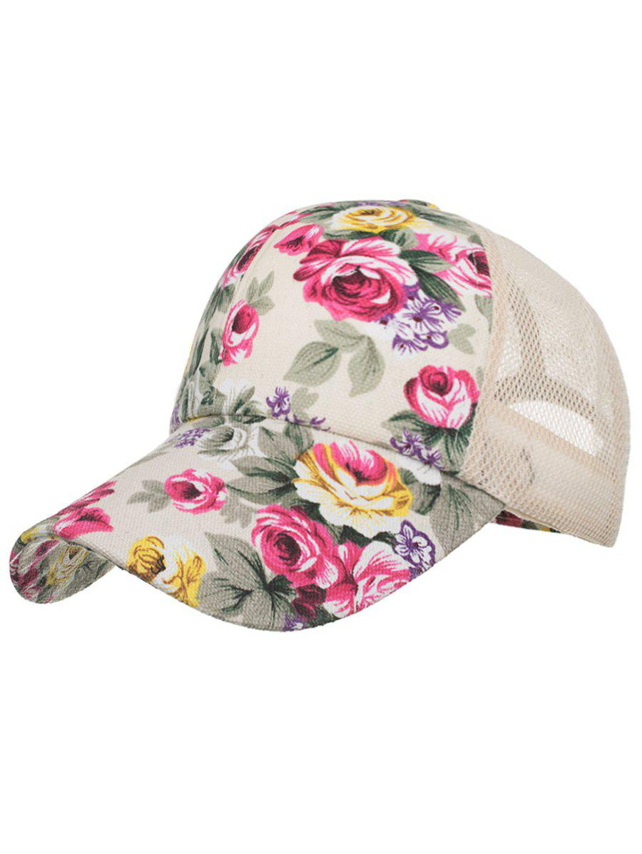 Trendy Blooming Floral Decorative Mesh Sun Hat