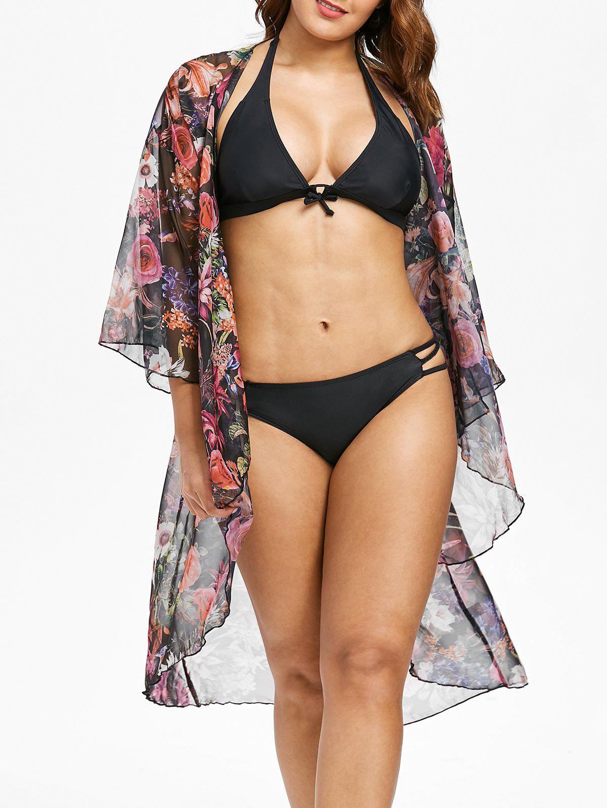 Sale Tropical Floral Kimono Cover Up