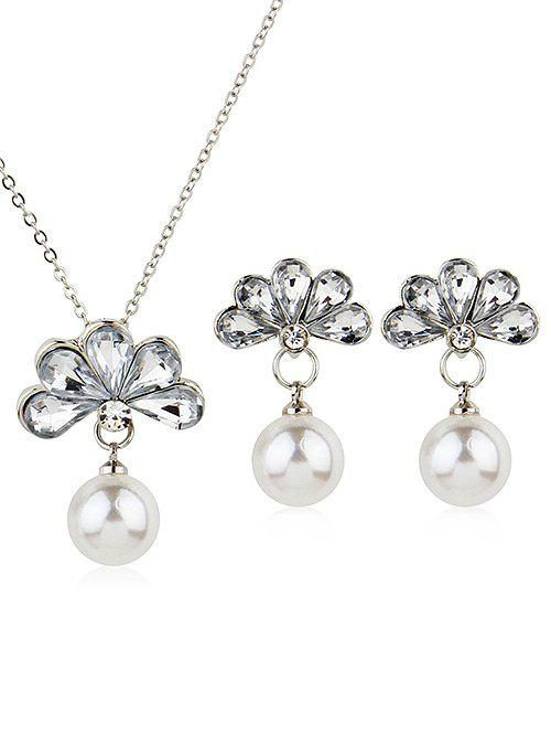 Best Floral Crystal Faux Pearl Decorative Pendant Necklace and Earrings
