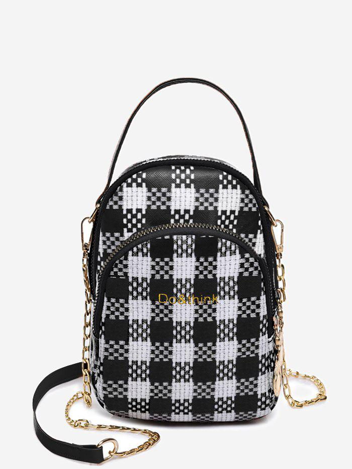 Chic Headphone Hole Top Handle Plaid Chain Crossbody Bag