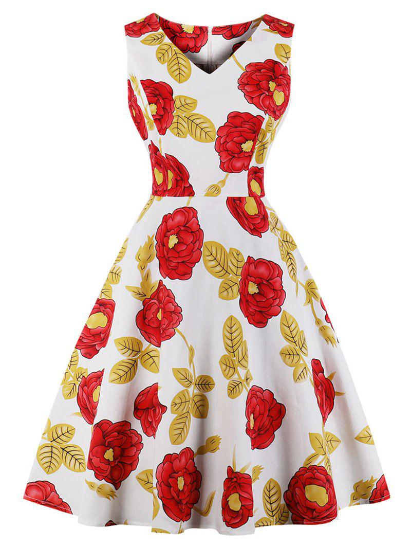Latest Vintage Floral Print Fit and Flare Dress