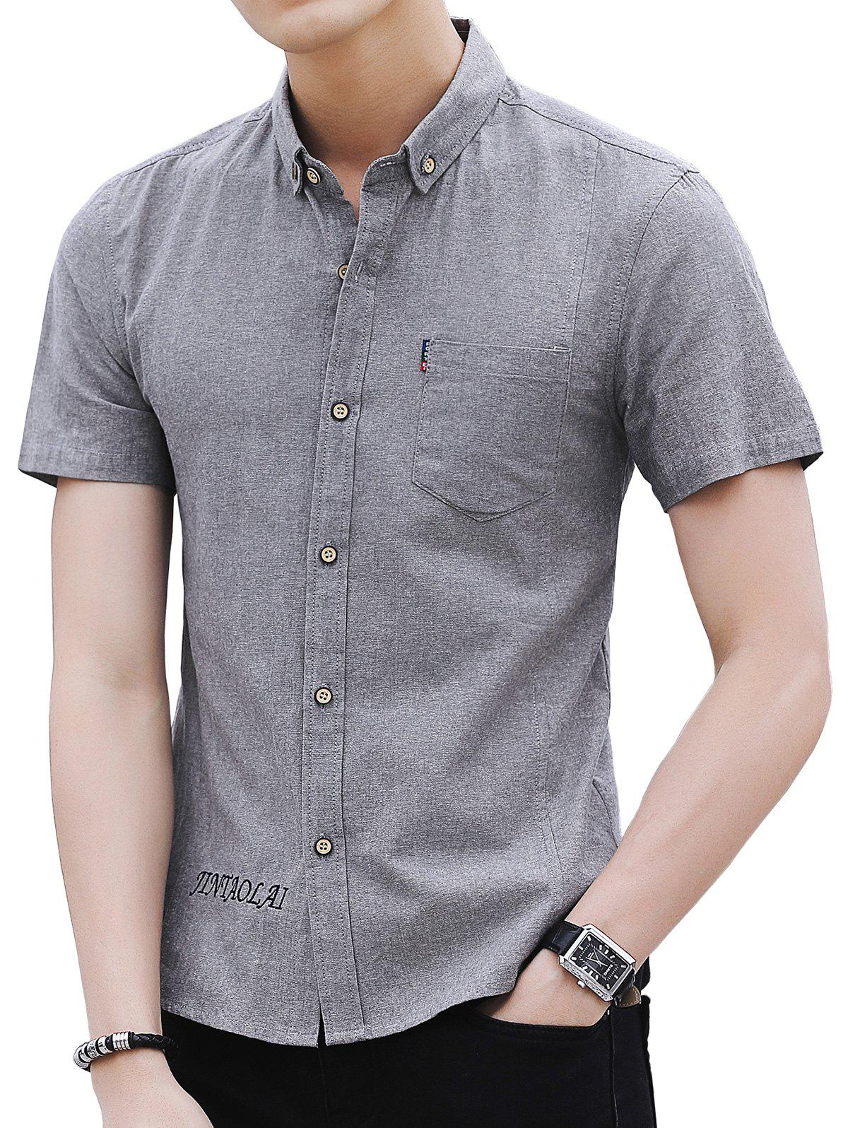 Buy Chest Pocket Embroidery Letter Casual Shirt
