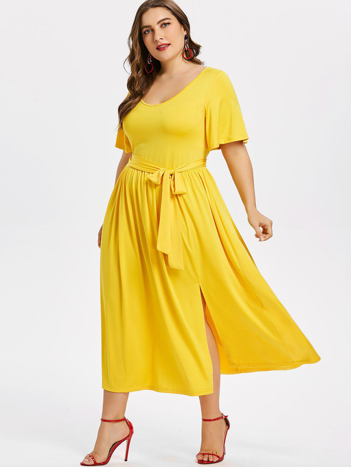 Shops Plus Size Plain Belted Dress