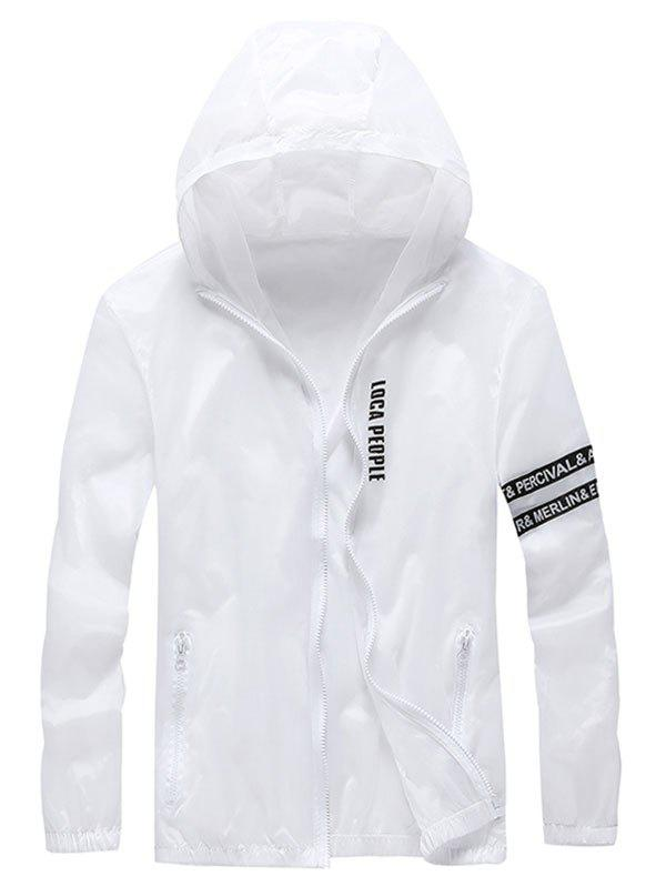 Fancy Letter Print Zip Up Hooded Sunscreen Jacket