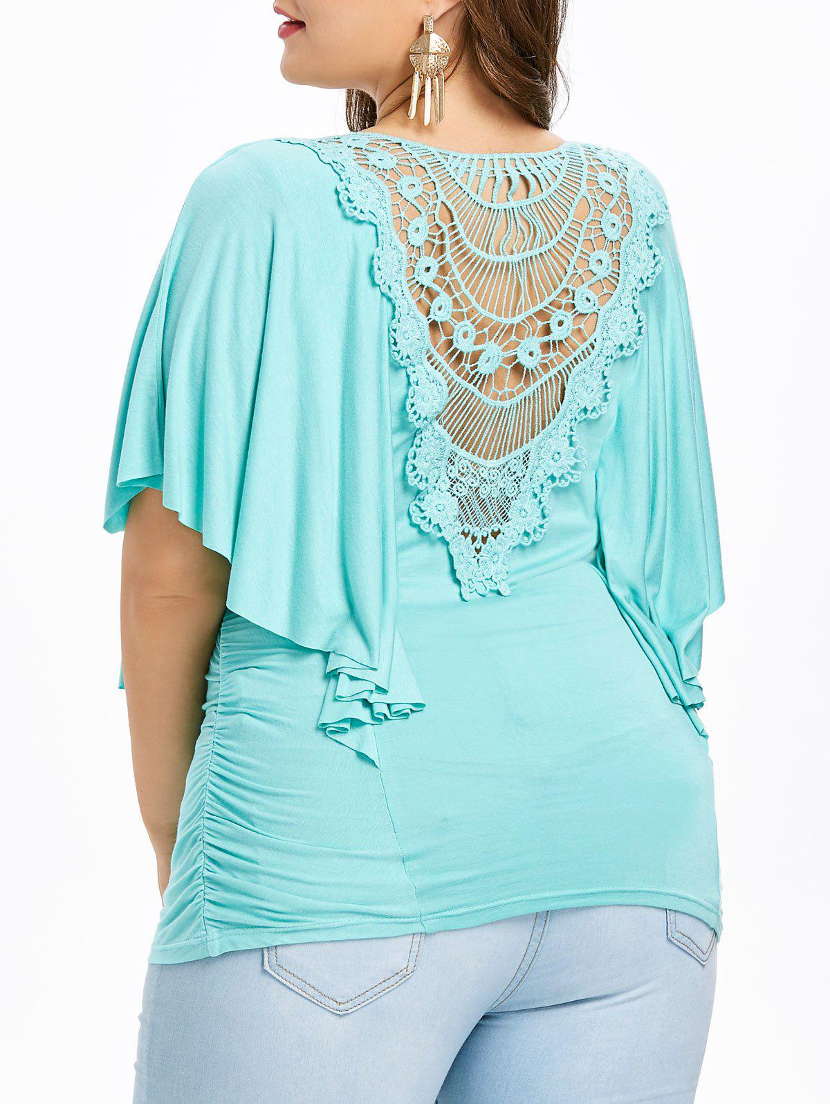 Fashion Plus Size Butterfly Sleeve Cutwork T-shirt