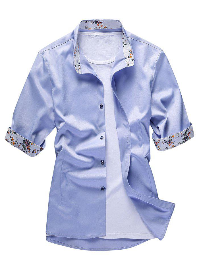 Discount Flower Print Panel Button Up Shirt