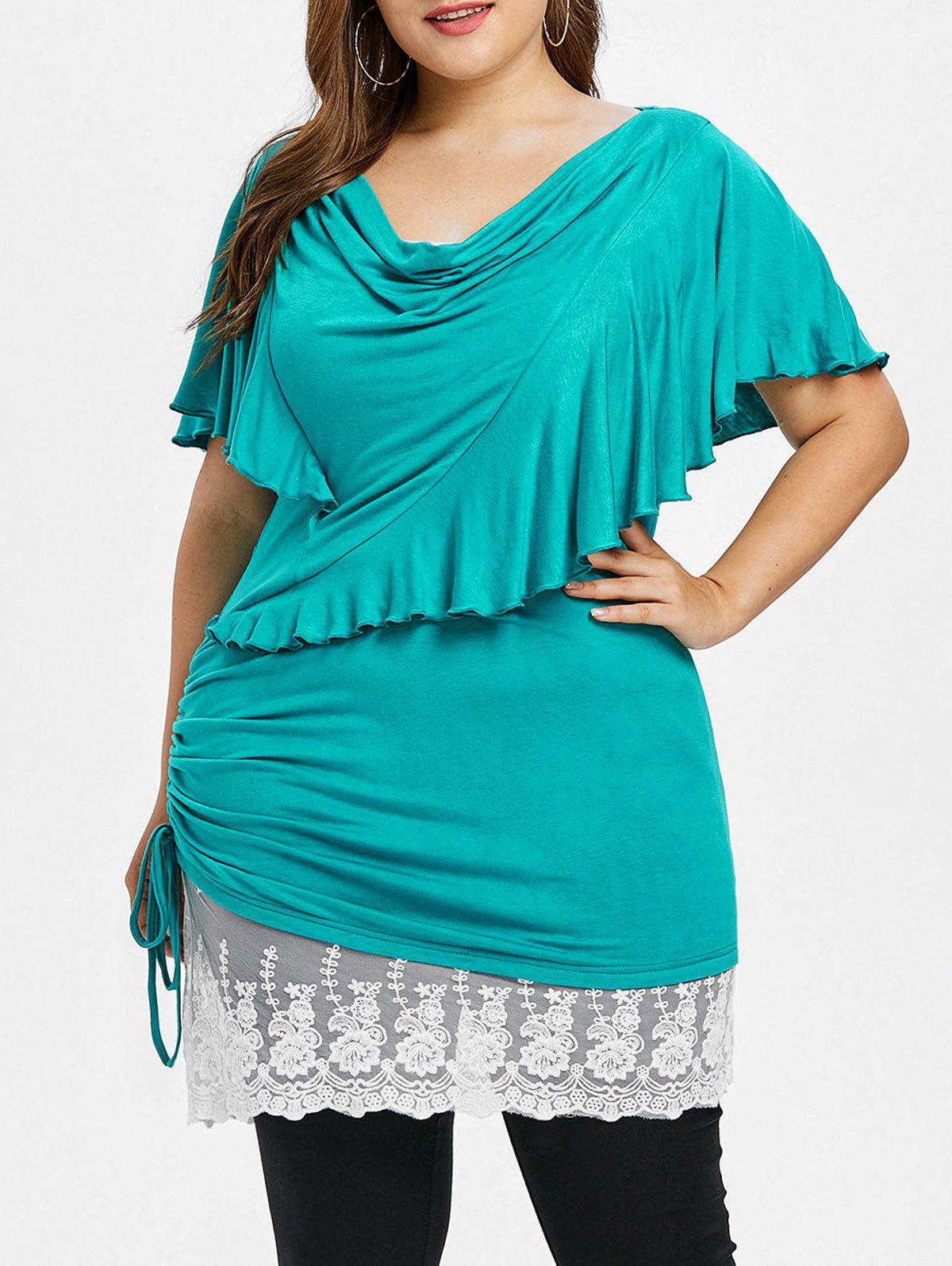 Fancy Plus Size Cowl Front Ruffle Bell Sleeve T-shirt