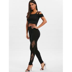 Sheer Lace Insert Fitted Leggings -