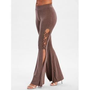 Mid Waist Criss Cross Split Flare Pants -