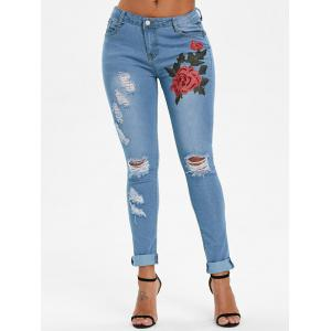 Flower Embroidered Skinny Ripped Jeans -