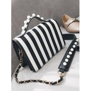 Faux Pearl Detail Striped Shoulder Bag with Hand Strap -