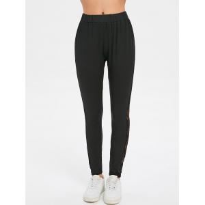 Lace Panel Bottom Fitted Leggings -