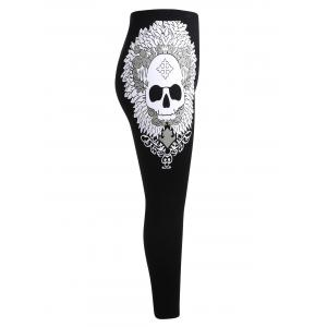 Plus Size Contrast Skull Leggings -