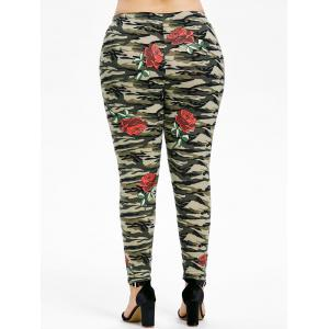 Plus Size Rose Camouflage Leggings -