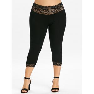 Plus Size Lace Trim Capri Leggings -