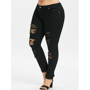 Plus Size Ripped Distressed Jeans -