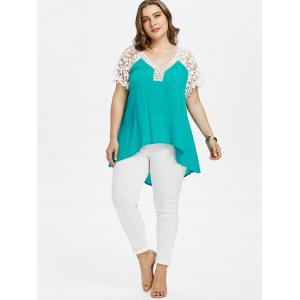 Plus Size Cutwork Lace Trim V Neck T-shirt -
