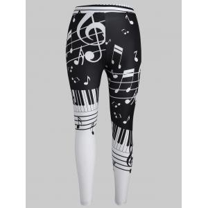 Musical Notes Plus Size Elastic Waist Leggings -