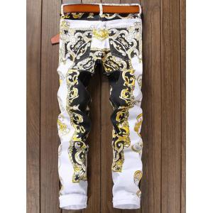 Print Colorblocked Stretchy Pockets Jeans -
