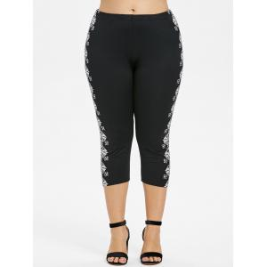 Plus Size Print Sides Cropped Leggings -