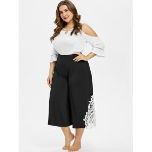 Plus Size Lace Trim Wide Leg Capri Pants -