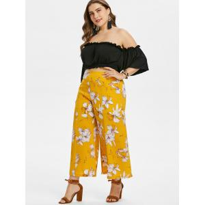 Plus Size Crop Top and Floral Pants Set -