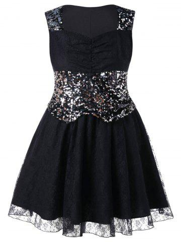 Outfits Plus Size Lace Sequin Insert Dress
