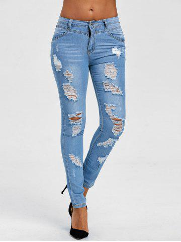 -40% Light Wash Distressed Jeans