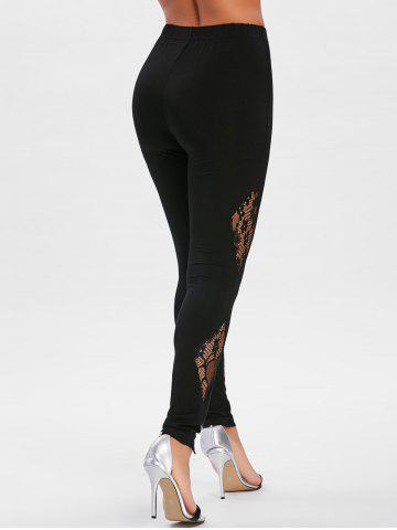 Fancy Sheer Lace Insert Fitted Leggings