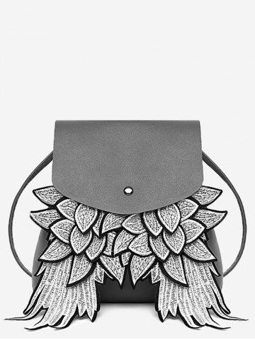 Outfits PU Leather Wings Detail Crossbody Bag
