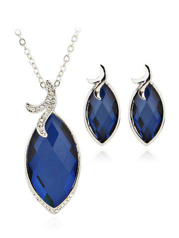 Blue Faux Sapphire Rhinestone Wedding Jewelry Set RoseGalcom