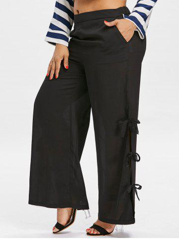 Hot Side Bowknot Insert Plus Size Wide Leg Pants