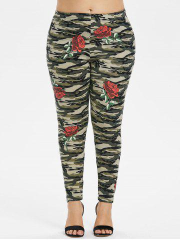 Buy Plus Size Rose Camouflage Leggings