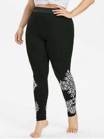 Chic Plus Size High Waisted Baroque Print Leggings