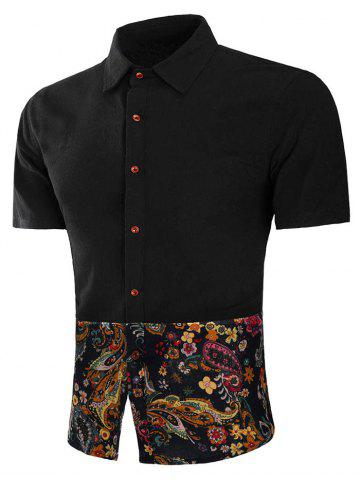 Outfit Button Up Floral Paisley Print Panel Shirt