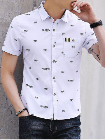 Fancy Allover Letter Print Button Up Shirt