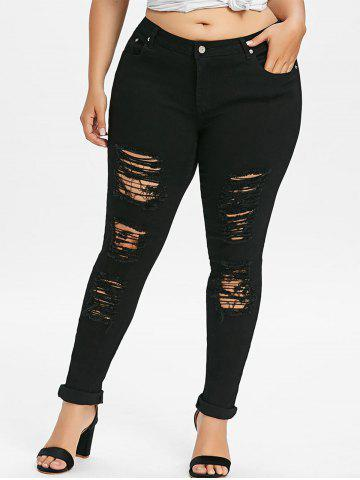 Unique Plus Size Ripped Distressed Jeans