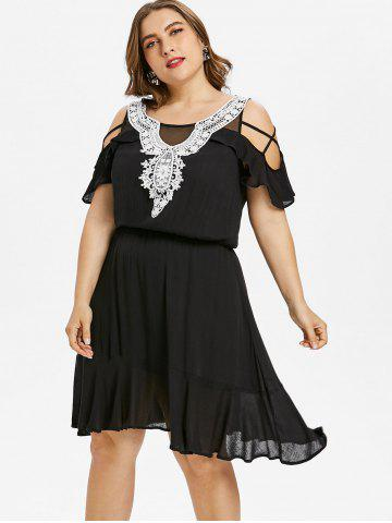 Plus Size Ruffle Cold Shoulder Knee Length Dress