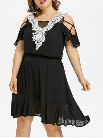 Outfit Plus Size Ruffle Cold Shoulder Knee Length Dress