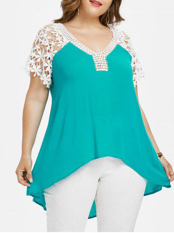 Fancy Plus Size Cutwork Lace Trim V Neck T-shirt
